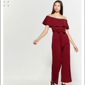 NWT burgundy almost famous flounce jumpsuit